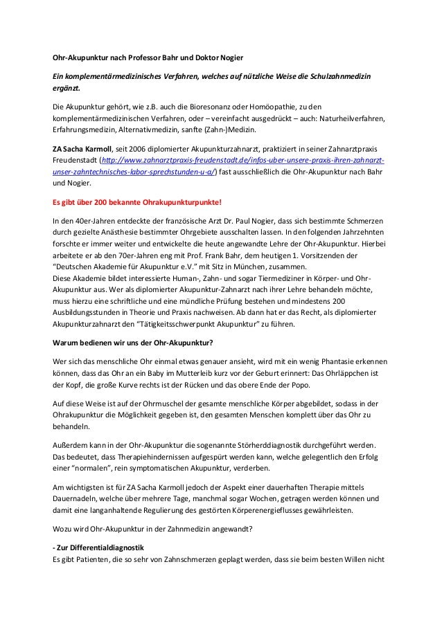 Ohr-Akupunktur nach Professor Bahr und Doktor Nogier Ein komplementärmedizinisches Verfahren, welches auf nützliche Weise ...
