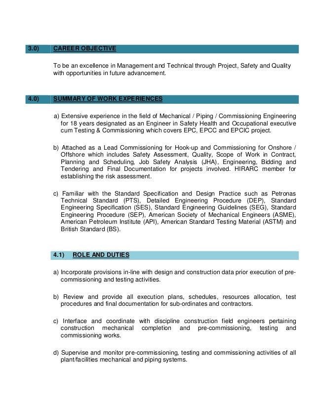bs engineering mechanical resume technology