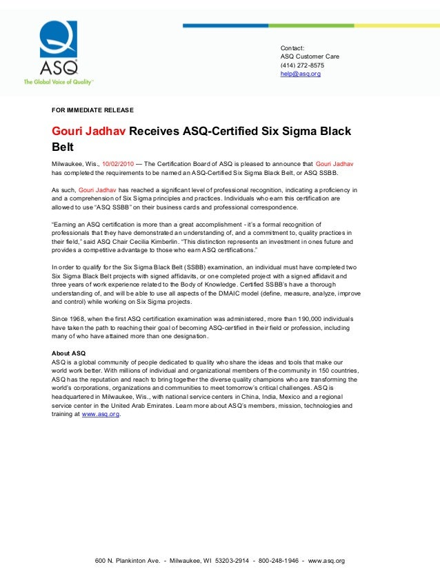 Six Sigma Black Belt Certification Requirements Asq Best Belt 2018