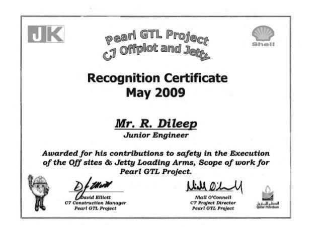 p®(§.fU @u[L fPJ~@.JJ®(£;tt   Shell ~aoo IIDUD@) JJ Recognition,Certificate   May 2009   Mr. R. Dileel' Junior Engineer Aw...