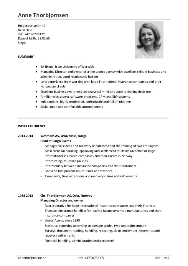 Norwegian Cv In English