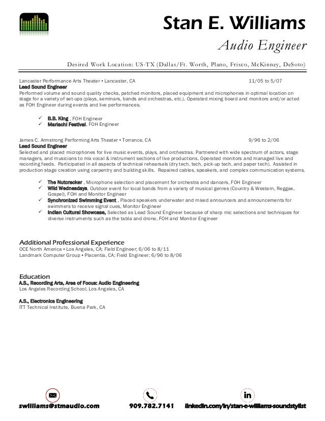 2017 Stan E Williams_Sound Engineer Resume
