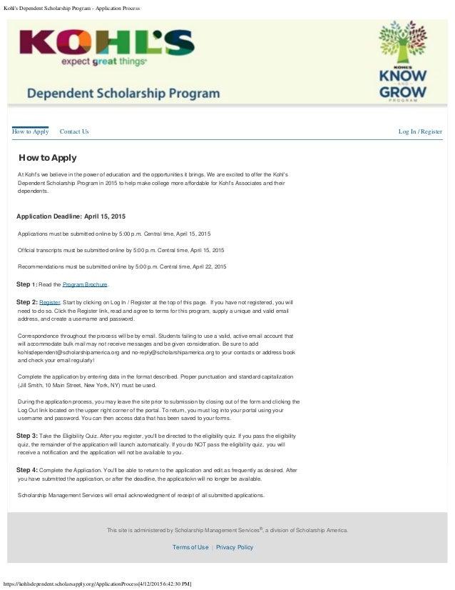 kohl 39 s dependent scholarship program application process
