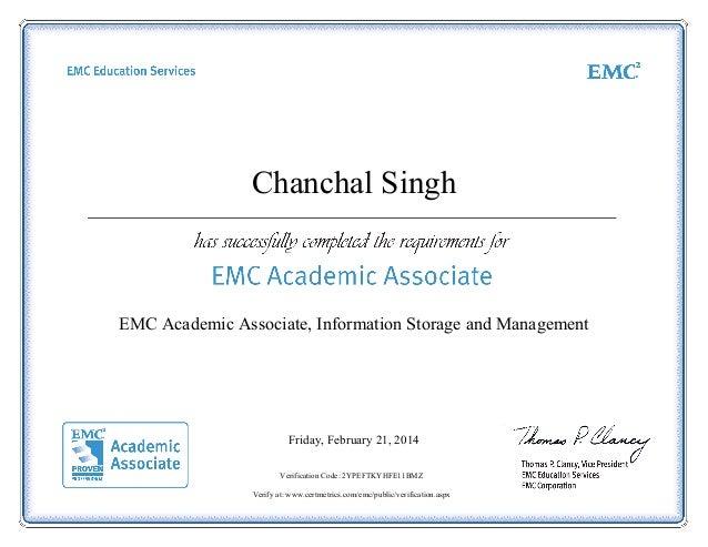 storage management certificate emc associate academic slideshare certificat upcoming