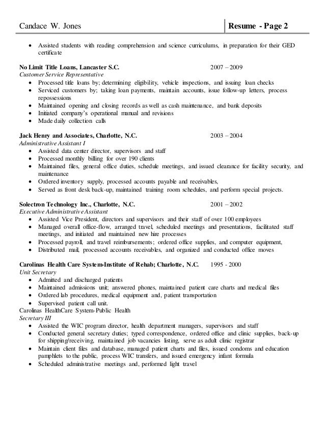 Resume Customer Service