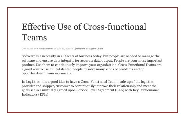 Cross Functional Collaboration in a Culture of Continuous Improvement