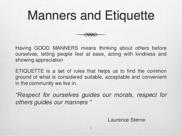 essay on manners and etiquettes