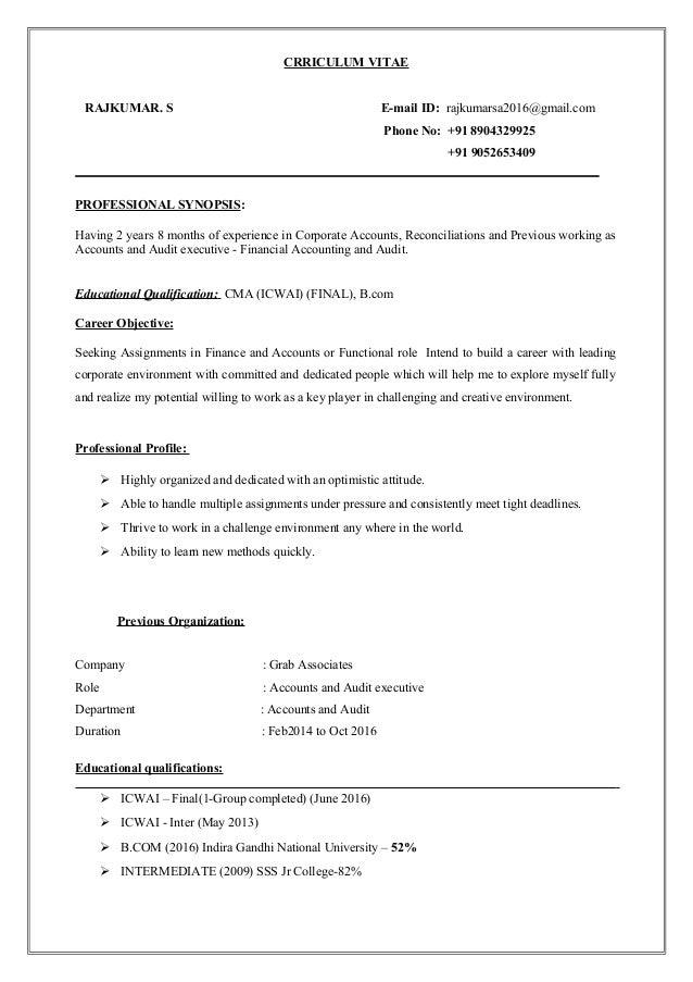 CRRICULUM VITAE RAJKUMAR. S E-mail ID: rajkumarsa2016@gmail.com Phone No: +91 8904329925 +91 9052653409 PROFESSIONAL SYNOP...