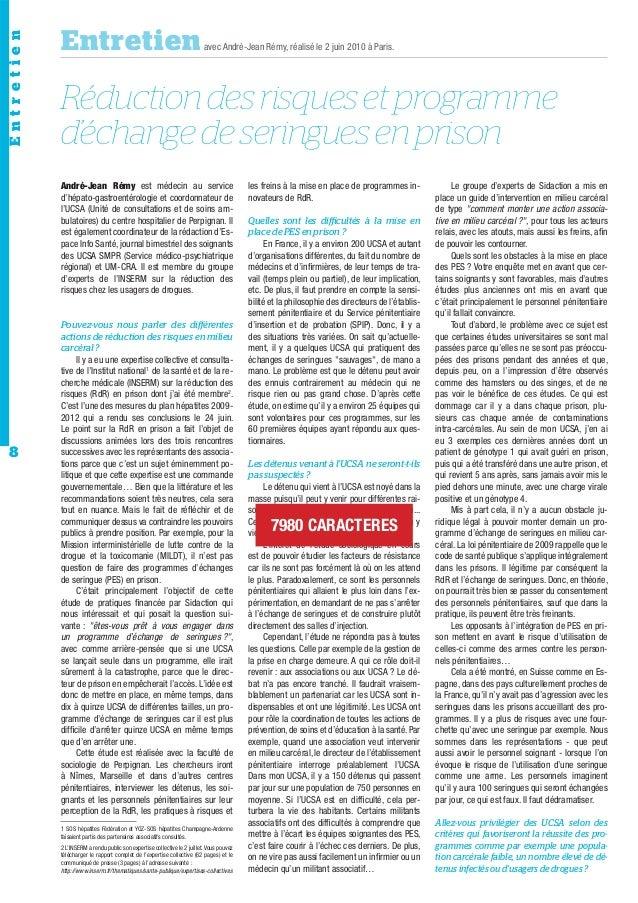 Entretien  Entretien  avec André-Jean Rémy, réalisé le 2 juin 2010 à Paris.  Réduction des risques et programme d'échange ...