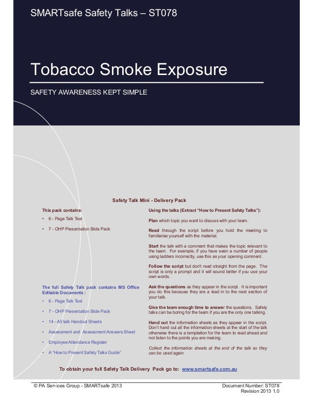 Tobacco Smoke Exposure Page 1 of 9 © PA Services Group - SMARTsafe 2013 Document Number: ST078 Revision 2013 1.0 Tobacco S...
