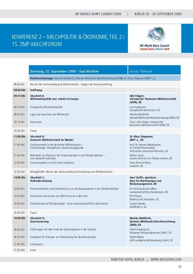 INTERNATIONAL DAIRY FEDERATION - GERMAN NATIONAL COMMITTEE 16 VERBAND DER DEUTSCHEN MILCHWIRTSCHAFT E.V. konferenz 3 Tierg...