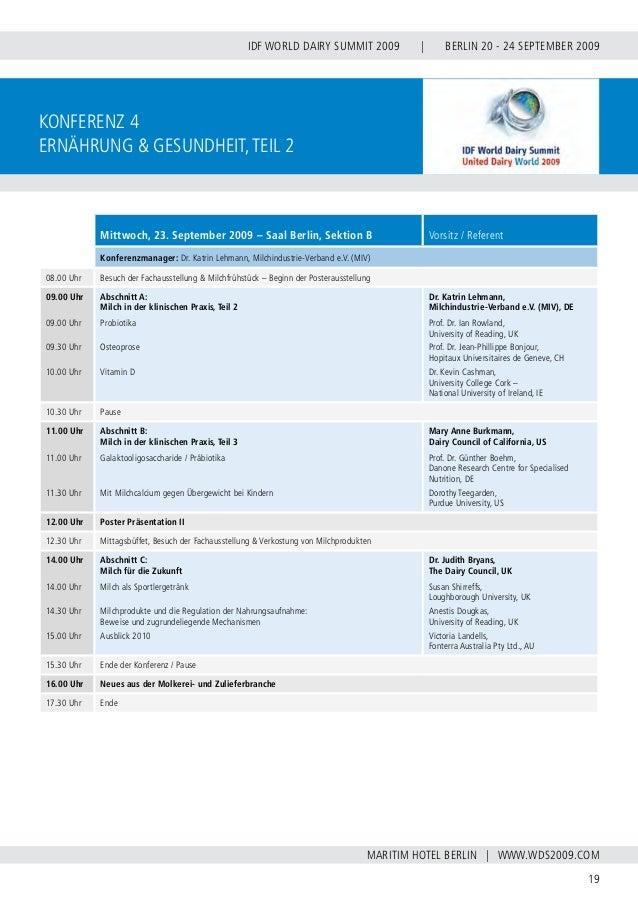 INTERNATIONAL DAIRY FEDERATION - GERMAN NATIONAL COMMITTEE 20 VERBAND DER DEUTSCHEN MILCHWIRTSCHAFT E.V. konferenz 5 Tierf...