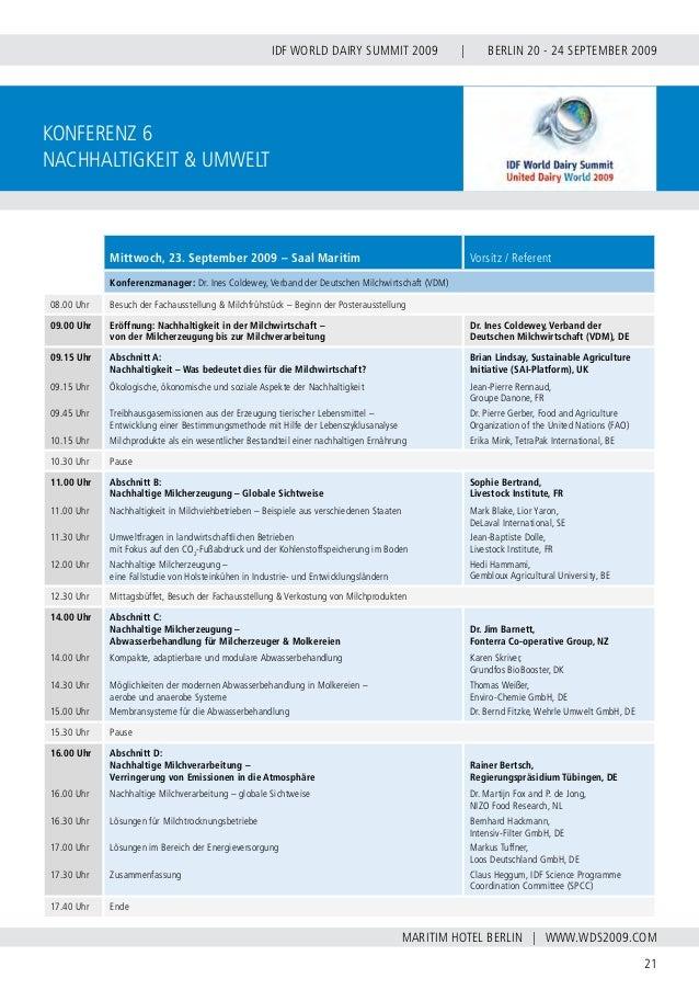 INTERNATIONAL DAIRY FEDERATION - GERMAN NATIONAL COMMITTEE 22 VERBAND DER DEUTSCHEN MILCHWIRTSCHAFT E.V. konferenz 7 Analy...