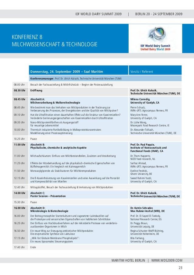 INTERNATIONAL DAIRY FEDERATION - GERMAN NATIONAL COMMITTEE 24 VERBAND DER DEUTSCHEN MILCHWIRTSCHAFT E.V. konferenz 9 Leben...
