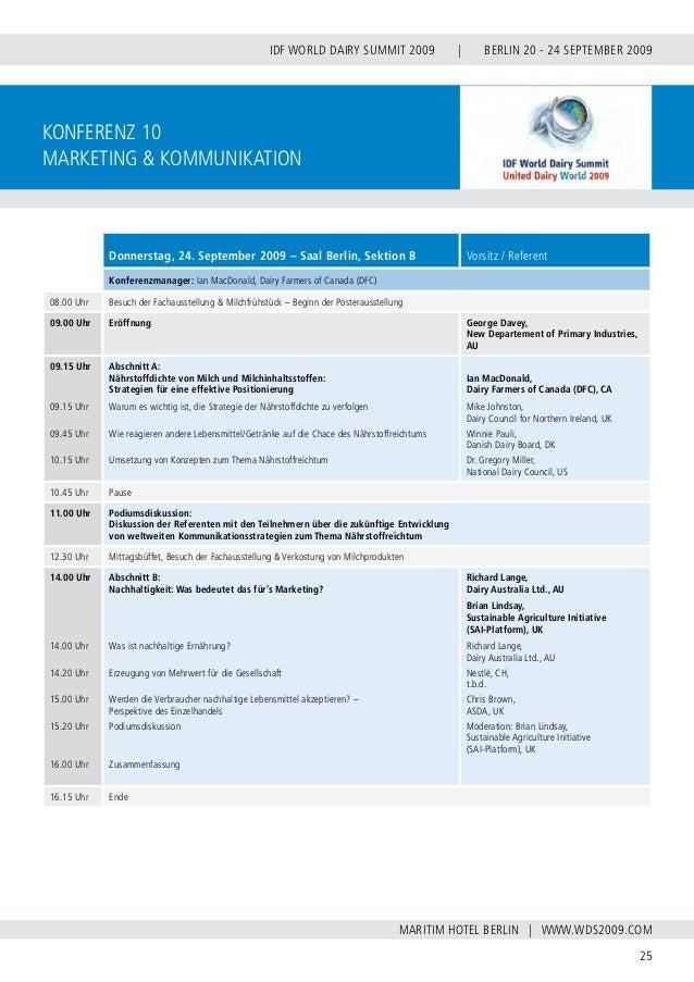 INTERNATIONAL DAIRY FEDERATION - GERMAN NATIONAL COMMITTEE 26 VERBAND DER DEUTSCHEN MILCHWIRTSCHAFT E.V. Poster Konferenz ...
