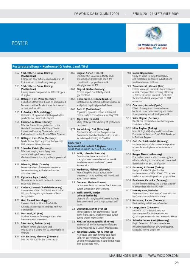INTERNATIONAL DAIRY FEDERATION - GERMAN NATIONAL COMMITTEE 30 VERBAND DER DEUTSCHEN MILCHWIRTSCHAFT E.V. Fachexkursionen D...
