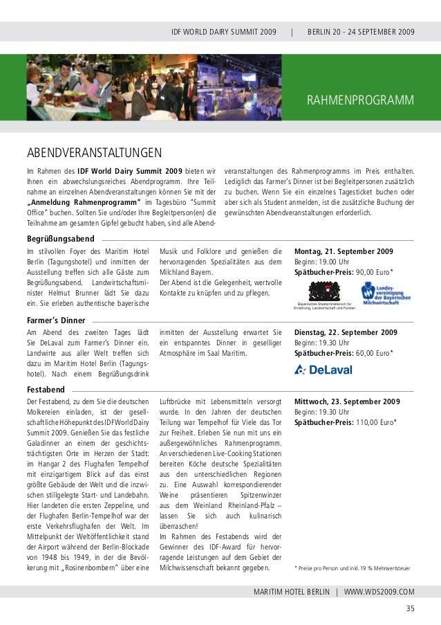 INTERNATIONAL DAIRY FEDERATION - GERMAN NATIONAL COMMITTEE 36 VERBAND DER DEUTSCHEN MILCHWIRTSCHAFT E.V. RAHMENPROGRAMM Be...