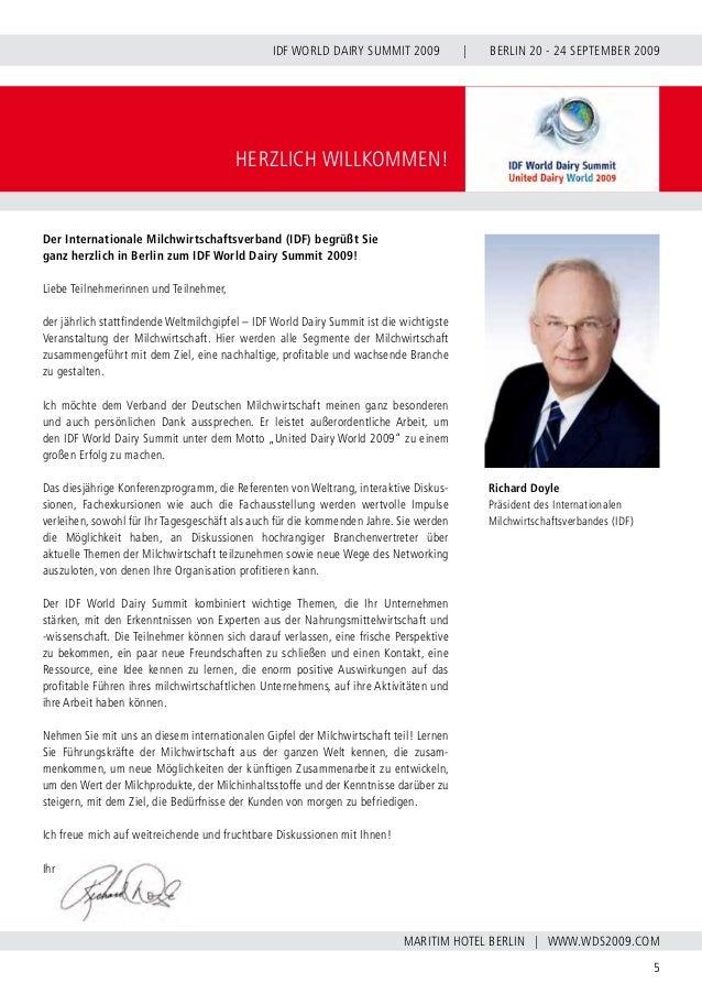 INTERNATIONAL DAIRY FEDERATION - GERMAN NATIONAL COMMITTEE 6 VERBAND DER DEUTSCHEN MILCHWIRTSCHAFT E.V. IDF WORLD DAIRY SU...