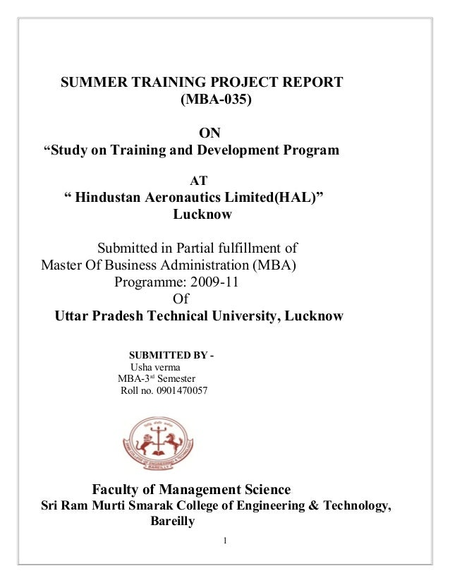 48041656 a-project-report-on-training-and-development-of-hal