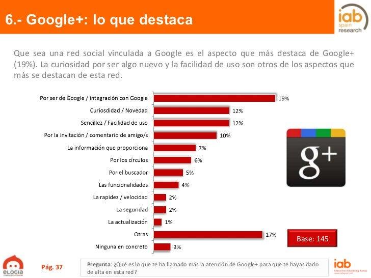 6.- Google+: lo que destaca Pág.  Pregunta :  ¿Qué es lo que te ha llamado más la atención de Google+ para que te hayas da...