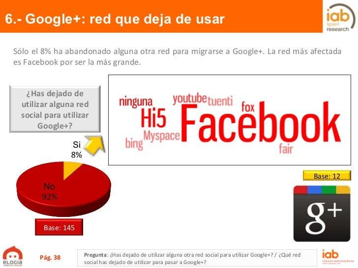 6.- Google+: red que deja de usar Pág.  Pregunta :  ¿Has dejado de utilizar alguna otra red social para utilizar Google+? ...