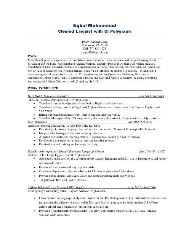 linguist resumes - Monza berglauf-verband com