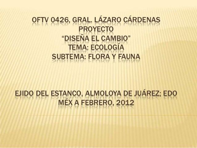"""OFTV 0426, GRAL. LÁZARO CÁRDENAS                PROYECTO           """"DISEÑA EL CAMBIO""""             TEMA: ECOLOGÍA         S..."""