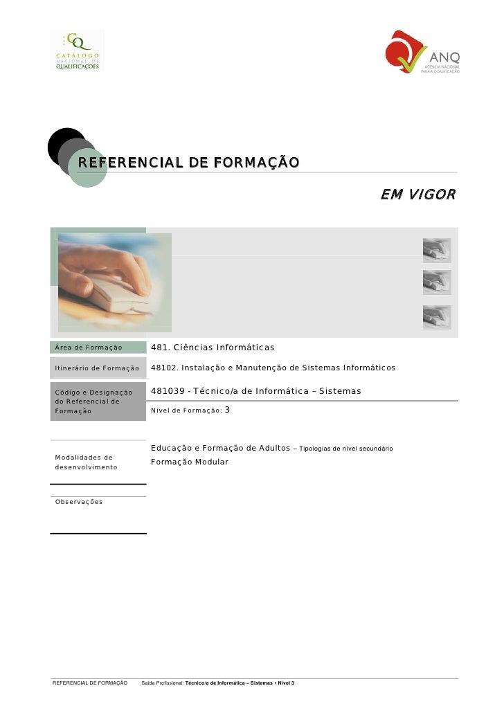 REFERENCIAL DE FORMAÇÃO                                                                                              EM VI...