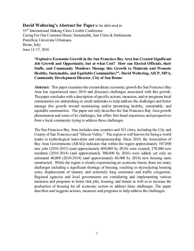 1 David Woltering's Abstract for Paper to be delivered at 53rd International Making Cities Livable Conference Caring F...