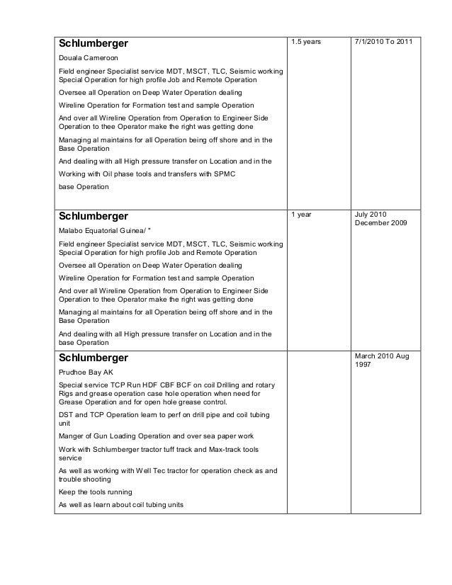 schlumberger douala cameroon field engineer - Schluberger Field Engineer Sample Resume