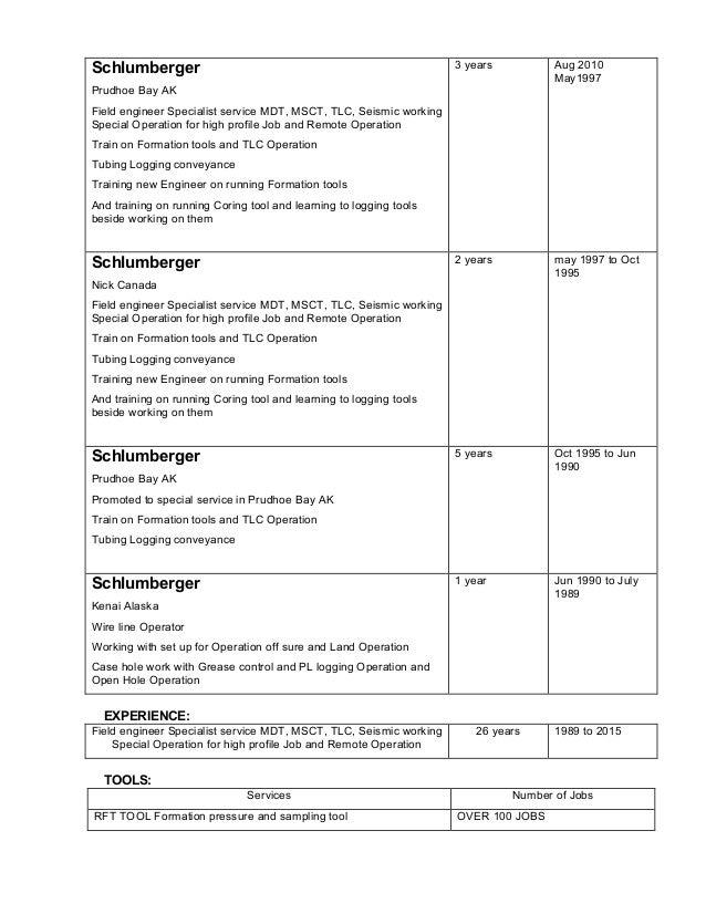 schlumberger prudhoe bay ak field engineer - Schluberger Field Engineer Sample Resume