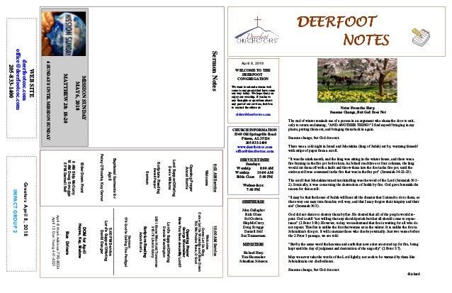 April 8, 2018 GreetersApril8,2018 IMPACTGROUP2 DEERFOOTDEERFOOTDEERFOOTDEERFOOT NOTESNOTESNOTESNOTES WELCOME TO THE DEERFO...