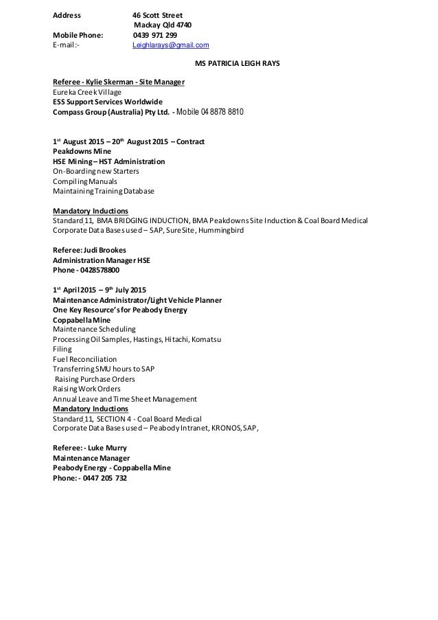 Outstanding Peabody Energy Resume Photo - Administrative Officer ...