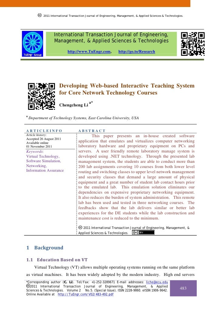 2011 International Transaction Journal of Engineering, Management, & Applied Sciences & Technologies.            2011 Inte...
