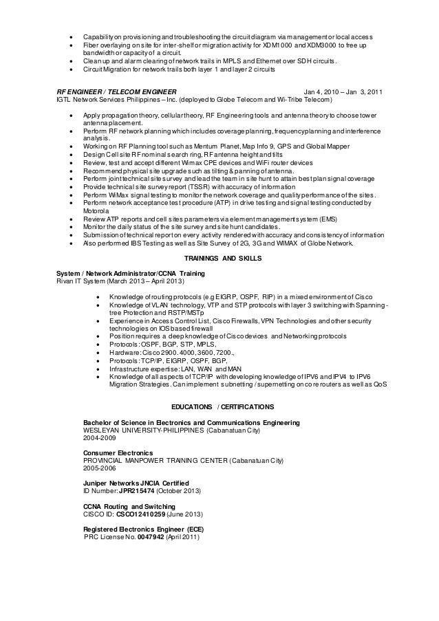 telecom engineer resume sample