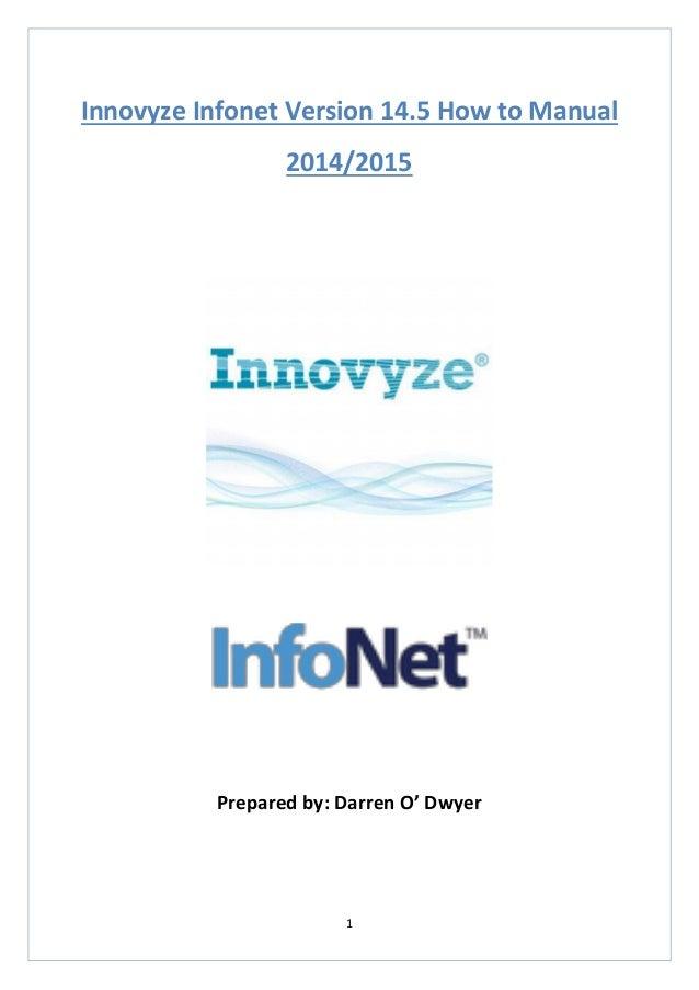 1  Innovyze Infonet Version 14.5 How to Manual  2014/2015  Prepared by: Darren O' Dwyer