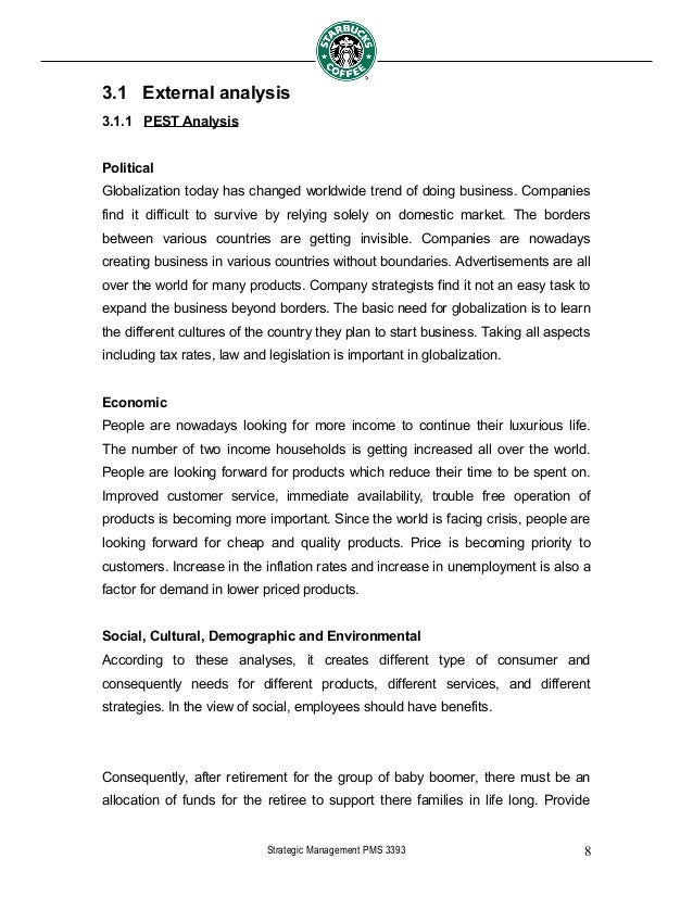 external analysis coffee culture essay External analysis 1 pestle factors political and legal government has high work efficiency, justice and transparency socio-cultural y colonial influence, hong kong's culture will more closely to the western country  ore open and easy then investment in mainland china.