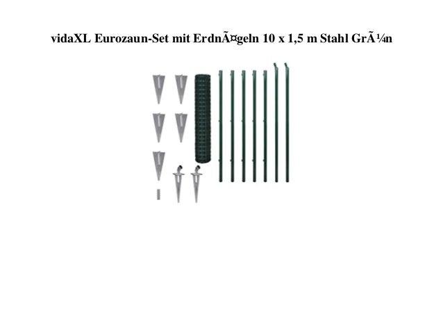 vidaXL Eurozaun-Set mit Erdnägeln 10 x 1,5 m Stahl Grün