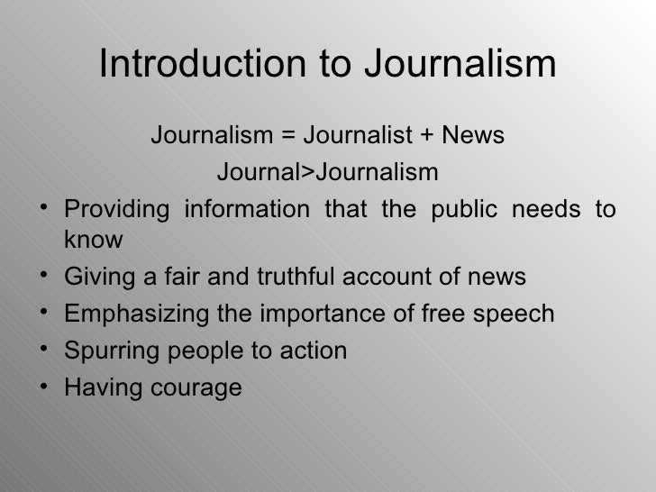 introduction to journalism notes