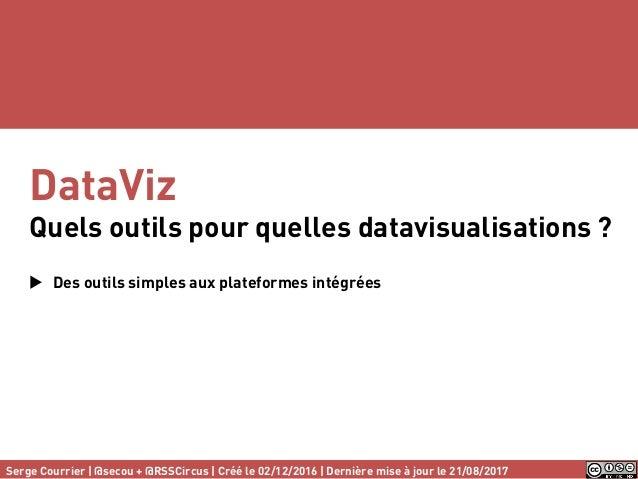 DataViz Quels outils pour quelles datavisualisations ?  Des outils simples aux plateformes intégrées Serge Courrier | @se...