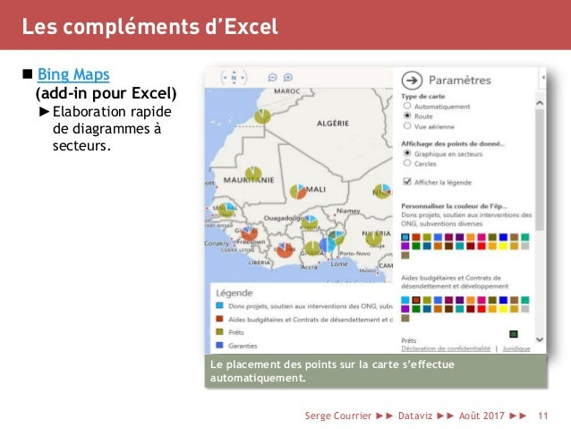 Les compléments d'Excel  Bing Maps (add-in pour Excel) ►Elaboration rapide de diagrammes à secteurs. Le placement des poi...