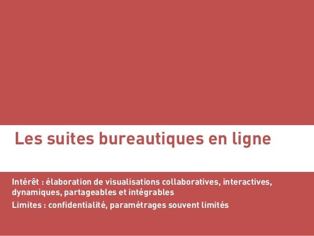 Les suites bureautiques en ligne Intérêt : élaboration de visualisations collaboratives, interactives, dynamiques, partage...