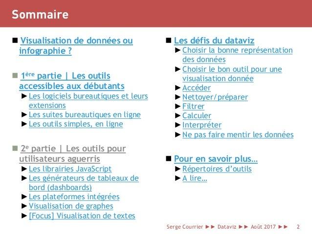 Sommaire  Visualisation de données ou infographie ?  1ère partie | Les outils accessibles aux débutants ►Les logiciels b...