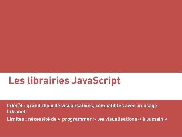 Les librairies JavaScript Intérêt : grand choix de visualisations, compatibles avec un usage Intranet Limites : nécessité ...