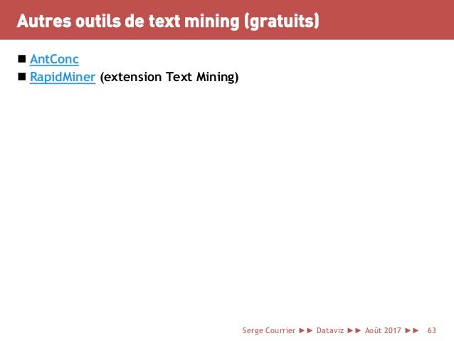 Autres outils de text mining (gratuits)  AntConc  RapidMiner (extension Text Mining) Serge Courrier ►► Dataviz ►► Août 2...