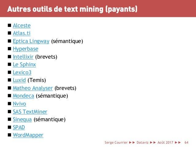 Autres outils de text mining (payants)  Alceste  Atlas.ti  Eptica Lingway (sémantique)  Hyperbase  Intellixir (brevet...