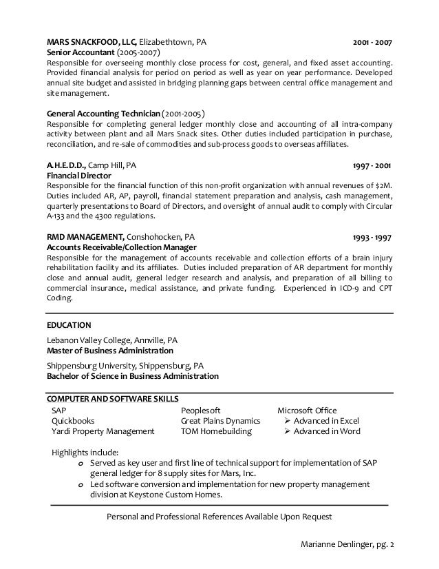 Property Accountant Resume Senior Staff