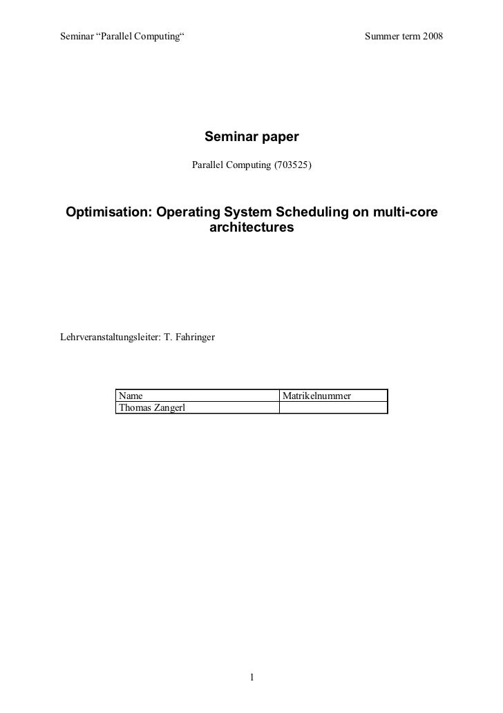 "Seminar ""Parallel Computing""                                         Summer term 2008                                   Se..."