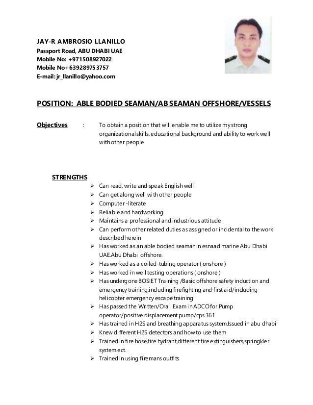 Able seaman resume