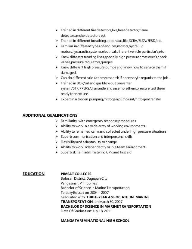 resume of seaman